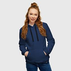 Толстовка-худи хлопковая женская Checkmate Spacey цвета тёмно-синий — фото 2