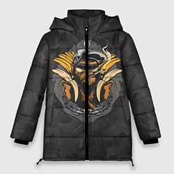 Женская зимняя 3D-куртка с капюшоном с принтом Камуфляжная обезьяна, цвет: 3D-черный, артикул: 10100551406071 — фото 1
