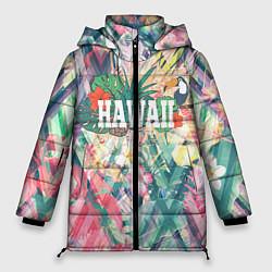 Женская зимняя 3D-куртка с капюшоном с принтом Hawaii Summer, цвет: 3D-черный, артикул: 10100570906071 — фото 1