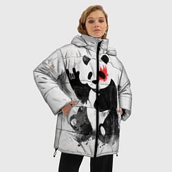 Куртка зимняя женская Рок-панда цвета 3D-черный — фото 2
