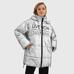 Женская зимняя 3D-куртка с капюшоном с принтом Live Now Sleep Later, цвет: 3D-черный, артикул: 10108190606071 — фото 2