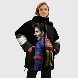 Женская зимняя 3D-куртка с капюшоном с принтом Месси 10, цвет: 3D-черный, артикул: 10112712506071 — фото 2
