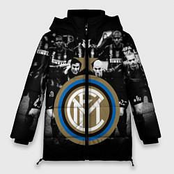 Женская зимняя 3D-куртка с капюшоном с принтом Интер ФК, цвет: 3D-черный, артикул: 10113557306071 — фото 1