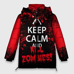 Женская зимняя 3D-куртка с капюшоном с принтом Keep Calm & Kill Zombies, цвет: 3D-черный, артикул: 10114183406071 — фото 1
