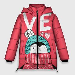 Женская зимняя 3D-куртка с капюшоном с принтом Пингвин: VE, цвет: 3D-черный, артикул: 10116604706071 — фото 1