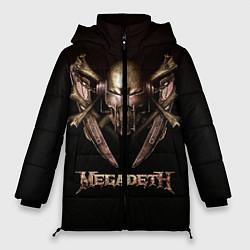 Женская зимняя 3D-куртка с капюшоном с принтом Megadeth, цвет: 3D-черный, артикул: 10118376206071 — фото 1