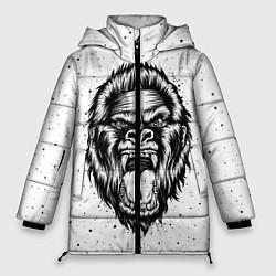 Женская зимняя 3D-куртка с капюшоном с принтом Рык гориллы, цвет: 3D-черный, артикул: 10121356706071 — фото 1