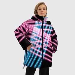 Женская зимняя 3D-куртка с капюшоном с принтом Неон, цвет: 3D-черный, артикул: 10126681106071 — фото 2