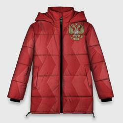 Женская зимняя 3D-куртка с капюшоном с принтом Сборная России, цвет: 3D-черный, артикул: 10132432906071 — фото 1