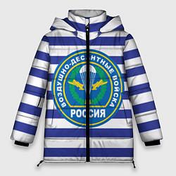 Женская зимняя 3D-куртка с капюшоном с принтом ВДВ Россия, цвет: 3D-черный, артикул: 10132434506071 — фото 1