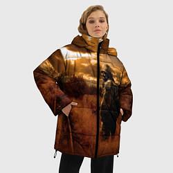Женская зимняя 3D-куртка с капюшоном с принтом S.T.A.L.K.E.R: Older Soldier, цвет: 3D-черный, артикул: 10135206306071 — фото 2