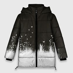 Женская зимняя 3D-куртка с капюшоном с принтом Ночная полянка, цвет: 3D-черный, артикул: 10135253106071 — фото 1