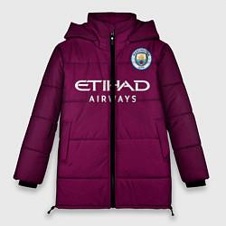 Женская зимняя 3D-куртка с капюшоном с принтом Man City FC: Away 17/18, цвет: 3D-черный, артикул: 10137896106071 — фото 1