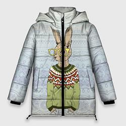 Женская зимняя 3D-куртка с капюшоном с принтом Кролик хипстер, цвет: 3D-черный, артикул: 10139174706071 — фото 1