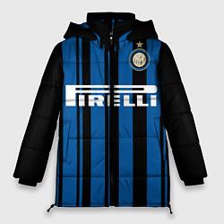 Женская зимняя 3D-куртка с капюшоном с принтом Inter FC: Home 17/18, цвет: 3D-черный, артикул: 10139225106071 — фото 1