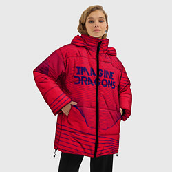 Женская зимняя 3D-куртка с капюшоном с принтом Imagine Dragons: Violet Stereo, цвет: 3D-черный, артикул: 10142143106071 — фото 2