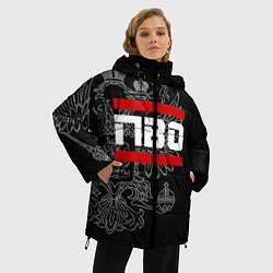 Куртка зимняя женская ПВО: герб РФ цвета 3D-черный — фото 2