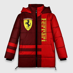 Женская зимняя 3D-куртка с капюшоном с принтом Ferrari: Red Line, цвет: 3D-черный, артикул: 10147150706071 — фото 1