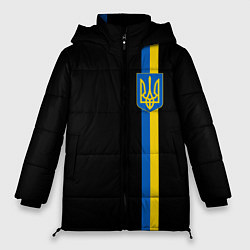 Женская зимняя 3D-куртка с капюшоном с принтом Украина, цвет: 3D-черный, артикул: 10148452306071 — фото 1