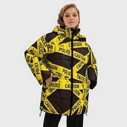 Женская зимняя 3D-куртка с капюшоном с принтом Police Caution, цвет: 3D-черный, артикул: 10149339106071 — фото 2