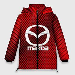 Женская зимняя 3D-куртка с капюшоном с принтом Mazda: Red Carbon, цвет: 3D-черный, артикул: 10150547906071 — фото 1