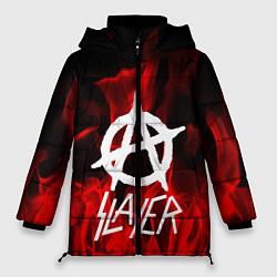 Женская зимняя 3D-куртка с капюшоном с принтом Slayer Flame, цвет: 3D-черный, артикул: 10151631306071 — фото 1