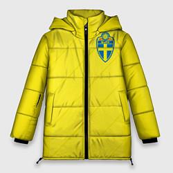 Женская зимняя 3D-куртка с капюшоном с принтом Сборная Швеции: Домашняя ЧМ-2018, цвет: 3D-черный, артикул: 10151654706071 — фото 1