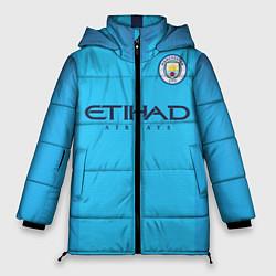 Женская зимняя 3D-куртка с капюшоном с принтом FC Man City: Home 18-19, цвет: 3D-черный, артикул: 10152567106071 — фото 1