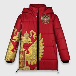 Женская зимняя 3D-куртка с капюшоном с принтом Сборная России: эксклюзив, цвет: 3D-черный, артикул: 10154339306071 — фото 1