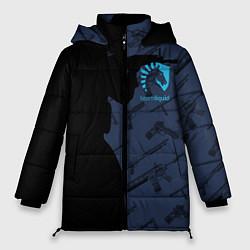 Женская зимняя 3D-куртка с капюшоном с принтом CS:GO Team Liquid, цвет: 3D-черный, артикул: 10154948506071 — фото 1