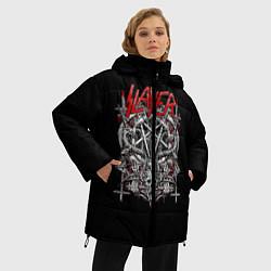 Женская зимняя 3D-куртка с капюшоном с принтом Slayer: Hell Goat, цвет: 3D-черный, артикул: 10156416706071 — фото 2