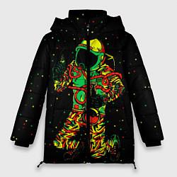Куртка зимняя женская Космонавт с кальяном цвета 3D-черный — фото 1