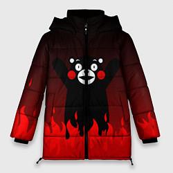 Женская зимняя 3D-куртка с капюшоном с принтом Kumamon: Hell Flame, цвет: 3D-черный, артикул: 10162548706071 — фото 1