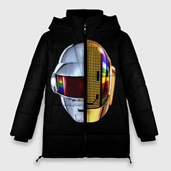 Женская зимняя 3D-куртка с капюшоном с принтом Daft Punk: Smile Helmet, цвет: 3D-черный, артикул: 10171252106071 — фото 1
