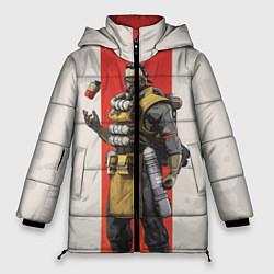 Женская зимняя 3D-куртка с капюшоном с принтом Apex Legends: Caustic, цвет: 3D-черный, артикул: 10172774106071 — фото 1