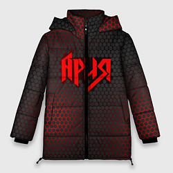 Женская зимняя 3D-куртка с капюшоном с принтом Ария, цвет: 3D-черный, артикул: 10182323506071 — фото 1