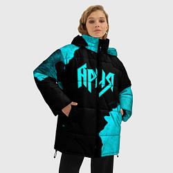 Женская зимняя 3D-куртка с капюшоном с принтом Ария, цвет: 3D-черный, артикул: 10182326706071 — фото 2
