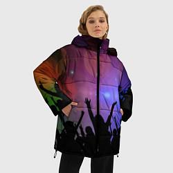 Женская зимняя 3D-куртка с капюшоном с принтом Пати, цвет: 3D-черный, артикул: 10207798106071 — фото 2