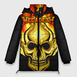 Женская зимняя 3D-куртка с капюшоном с принтом Megadeth, цвет: 3D-черный, артикул: 10218169506071 — фото 1