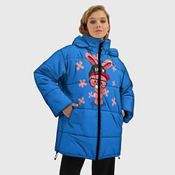 Женская зимняя 3D-куртка с капюшоном с принтом Милый Заяц, цвет: 3D-черный, артикул: 10230917506071 — фото 2