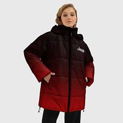 Женская зимняя 3D-куртка с капюшоном с принтом Jeep спина Z, цвет: 3D-черный, артикул: 10237334506071 — фото 2