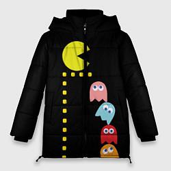 Женская зимняя 3D-куртка с капюшоном с принтом Pac-man, цвет: 3D-черный, артикул: 10245720306071 — фото 1