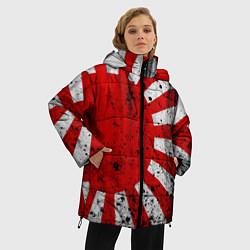 Женская зимняя 3D-куртка с капюшоном с принтом ЯПОНСКИЙ ФЛАГ, цвет: 3D-черный, артикул: 10246801706071 — фото 2