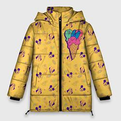 Женская зимняя 3D-куртка с капюшоном с принтом Минни Маус мороженое, цвет: 3D-черный, артикул: 10250066506071 — фото 1