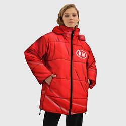 Женская зимняя 3D-куртка с капюшоном с принтом KIA, цвет: 3D-черный, артикул: 10254232106071 — фото 2