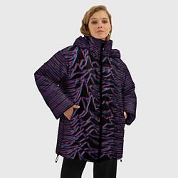 Женская зимняя 3D-куртка с капюшоном с принтом Joy Division Glitch, цвет: 3D-черный, артикул: 10265920906071 — фото 2