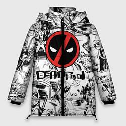 Женская зимняя 3D-куртка с капюшоном с принтом Deadpool логотип, цвет: 3D-черный, артикул: 10275022306071 — фото 1