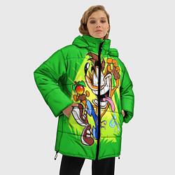 Женская зимняя 3D-куртка с капюшоном с принтом CRASH BANDICOOT, цвет: 3D-черный, артикул: 10275187506071 — фото 2