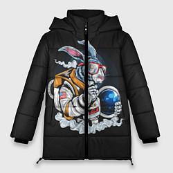 Женская зимняя 3D-куртка с капюшоном с принтом Кролик космонавт, цвет: 3D-черный, артикул: 10276720706071 — фото 1