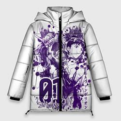 Женская зимняя 3D-куртка с капюшоном с принтом Евангелион, EVA 01, цвет: 3D-черный, артикул: 10288265506071 — фото 1
